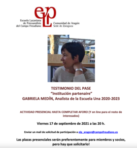 Enseñanzas del Pase en la Comunidad de Aragón de la ELP @ Comunidad de Aragón de la ELP